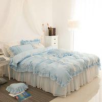 Wholesale girls princess bedding sets resale online - Pink blue luxury cotton lace princess bedding set twin queen king size girls korean style duvet cover beddingset bed skirt set