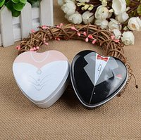 Wholesale metal heart shape favor tins for sale - Group buy Bridal Groom Dress Tin Box Wedding Favor Heart Shape Wedding Candy Box Gift Box Party Gifts