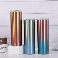 Wholesale stainless steel bearings for sale - Group buy 20oz Skinny Tumbler Cups Colorful Stainless steel Vacuum Insulated Straight Slim Bear Coffee Water Mugs Bottle Straws Cups OWF831