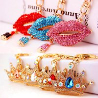 Wholesale couples bag resale online - Creative crafts kiss red lips mouth car keychain crown lady bag accessories metal pendant gift romantic couple gift