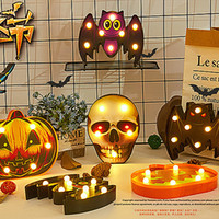 Wholesale candles animal shapes resale online - Halloween LED Light Funny Plastic Spider Bat Skull Pumpkin Shape Night Light for Halloween Party Table Wall Decorations