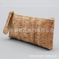 Wholesale cork material resale online - Creative small casual cork pen simple and convenient cosmetic bag environmentally friendly material cork small bag can be labeled