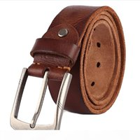 Wholesale wide belt jeans for sale - Group buy belt men s belts pronged buckle man s genuine leather strap for jean high quality wide brown color fashion free delivery