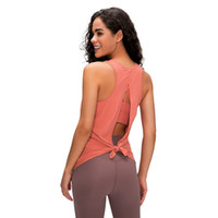 Wholesale top naked women resale online - L Solid Color Backless Sexy Lady Vest Naked Yoga Clothing Sling Top Sports Fitness Vest New Breathable Running Quick drying shirt