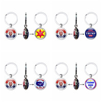 Wholesale key make resale online - 28styles Trump Keychain President Double Side Key Chain USA Flag Make America Great Again Pendant Car Key Ring Party Favor GGA3643