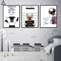 Wholesale pictures puppies for sale - Group buy Funny Pug Life Canvas Print Bad Girl Quote Prints Painting Cute Music Puppy Dog Wall Pictures Poster Fashion Home Decor