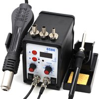 sıcak silah bga toptan satış-8586 SMD BGA Rework Solder Station Hot Air Blower Heat Gun Intelligent Detection And Cool Air Welding Soldering Iron Repair Tool