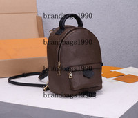 Wholesale Fashion Smooth Zipper Mini Backpack Genuine leather children backpack women Brown printing backpack