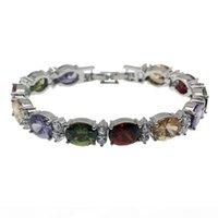 Wholesale bracelet topaz resale online - Natural Gemstone Links Bracelet Sterling Silver Garnet Amethyst White Topaz Morganite Fashion Jewelry Chain Inch