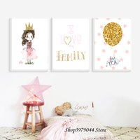 Wholesale balloon spray resale online - Pink Princess Nursery Wall Art Canvas Painting Love You Quotes Art Print Yellow Balloon Poster Nordic Baby Girl Home Decoration
