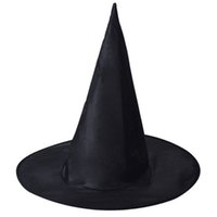 Wholesale witch hats resale online - Halloween Witch Hat Masquerade Party Decoration Adult Women Black Witch Hat Wizard Top Caps Halloween Costume Accessory Party Cap VT1496