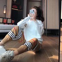 Wholesale suit cards for sale - Group buy Card color quality suit high quality fashion temperament letter knitting card color stripe high waist girdle feet pants