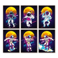 Wholesale animal art painting photos for sale - Group buy Space Astronaut Surfing skateboarding Photo travel Wall Art Print Canvas Painting Nordic Poster Wall Pictures Kids Room Decor