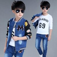 Wholesale baby winter body suit resale online - hot Children s sets spring new boys and girls cowboy suits cuhk fashion kids denim clothing sets baby clothes jean body suit