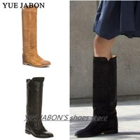 Wholesale distressed boots resale online - Real Photos winter boots for girls Distressed Leather Straight Long Boots Height Increasing Knee High Black ladies