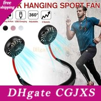 Wholesale outdoor led lights china resale online - Led Light Outdoor Neck Band Fan Personal Portable Mini Double Wind Head Neckband Fan Usb Rechargeable Air Cooler For Sports