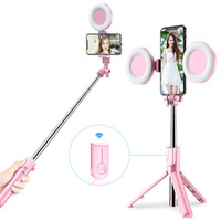 Wholesale wireless monopod resale online - Wireless Bluetooth Selfie Stick with Led Ring Light Foldable Tripod Monopod For iPhone Xiaomi Huawei Samsung Android Live Tripod