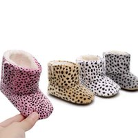 Wholesale baby leopard winter boots resale online - Leopard Baby Winter Boots Girls Mid tube Boots Soft and Hard Sole Keep Warm Snow Girls Winter Shoes Toddler