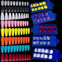 100pcs Ballerina French Fake Nail Tips Artificial Clear Coffin False Nails Tip Full Cover Press On Long Ballerina Acrylic Nails