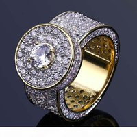Wholesale wide white gold ring resale online - Geometric Hollow Alloy Wide Ring Exaggeration Hip Hop Gold Plated Round Full Rhinestone Rings For Men Fashion Jewelry Accessories
