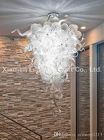 Hot Sale Clear and Turquoise Glass Chandelier Pendant Light Style Hand Blown Glass Chandelier LED Living Room Dining Room Lighting Small