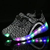Wholesale wheels for shoes resale online - 2019 Children s Led Mesh Breathable on Wheels for Boys Girls Fashion Sneakers with Lighting Glowing Shoes