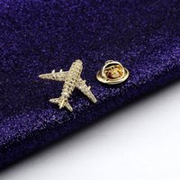 Wholesale small gold brooches resale online - Korean style high end micro inlaid Accessories clothing zircon mini anti exposure small aircraft brooch plated K real gold clothing access