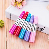 Wholesale color ballpoint pens resale online - 5 Colros Lipstick Ballpoint pen Kawaii Candy Color Plastic Ball Pen Novelty Item Stationery Free EWC946