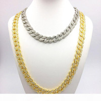 Wholesale women curb chain necklace resale online - Tendy Hip Hop Jewelry K Gold Plated Shiny Rhinestone Curb Miami Cuban Link Chain Necklace Men Women Bling Bling Rapper Accessories