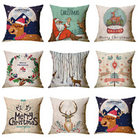 christmas pillow venda por atacado-Feliz Natal Pillow Covers Decor Inverno Micro-fibe capas de almofada natal Sofá Throw Pillow Caso inicial do carro capas de almofada 45 * 45 50pcs T1I2302