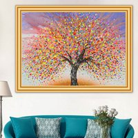 Wholesale colourful art paintings for sale - Group buy 5D DIY Diamond Painting Colourful Tree Cross stitch Full Diamond Embroidery Landscape Mosaic Picture Art Rhinestone Home Decor
