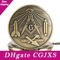 Wholesale square retro pendant necklace resale online - Bronze Masonic Freemasonry Chrome Square And Compass Mason Retro Necklace Pendant Quartz Pocket Watch Best Gifts For Freemason
