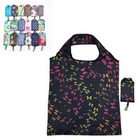 Wholesale resuable bags for sale - Group buy Portable Shopping Handbag Resuable Polyester Eco friendly Grocery Bag New Foldable Floral Cloth Pattern Advertising Gift Tote Bags VT1546