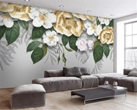 Wholesale three dimensional paper flowers for sale - Group buy 3d Wall Paper for Bedroom Modern Simple Three dimensional Fresh Flower Plant Living Room Bedroom Wallcovering HD Wallpaper