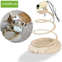 Wholesale pet cats games for sale - Group buy Toy Mouse Foldable Steel Spiral Pet Kitten Spring Rotating Games Plush Cat Interactive Funny Mesnug Stainless Toy Scratching Pad zMbua