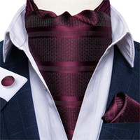 Wholesale men's ascot cravat resale online - Luxury Men s Ascot Tie Set Vintage Wine Red Striped Silk Wedding Formal Necktie Cravat Handkerchief Cufflinks Set DiBanGu