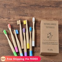 Wholesale free children toothbrushes resale online - Kids Bamboo Toothbrush Soft Bristles Eco Biodegradable Plastic Free Oral Care Toothbrush Colors Child Bamboo Toothbrush
