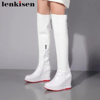 Wholesale over knee high wedge heel boots resale online - Lenkisen classic features natural leather round toe zipper super high bottom wedges heels mature woman over the knee boots L07