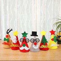 Wholesale mini hat diy resale online - DIY Mini Christmas Hat Creative Christmas Decoration For Home Xmas Tree Hanging Ornament Felt Cloth Kids Hat Festival Decoration