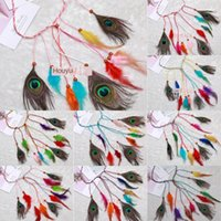 Wholesale gypsy fashion style for sale - Group buy Bohemian peacock feather National Gypsy style ethnic headdress feather headband fashion hair band hair rope ja3WL