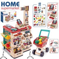 Wholesale girl dresses games for sale - Group buy kids store Supermarket shopping cart Cash Register Vegetables Food Play Set Shop Toys for Children Girls Games Dress up games Playing House