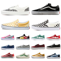 Wholesale white volleyball shoes for sale - Group buy mens women canvas van sneakers van old skool sk8 skateboard fear of god Checkerboard slip on casual shoes triple black white flat men