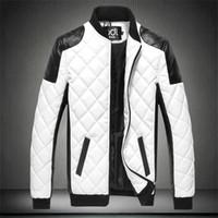 Wholesale black moto jackets for sale - Group buy New Autumn Men s PU Cotton Jackets Black White Patchwork Leather Jacket Moto Biker Locomotive Outerwear Male Casual Coat
