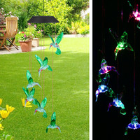 Solar Color-Changing LED Hummingbird Wind Chimes Home Garden Decor Light Lamp US