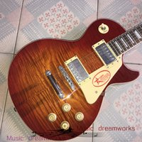 Wholesale les paul guitar for sale - Group buy China electric guitar OEM shop LP Standard Electric Guitar R9 Les VOS spalted flamed maple top Electric Paul Guitar High quality case
