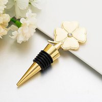 Wholesale birthday giveaways for sale - Group buy Lucky Clover Wine Bottle Stopper Four Leaf Clover Red Wine Stopper Wedding Favor Birthday Gift Event Giveaways AHD1066