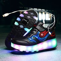 Wholesale child light shoes wheel resale online - 2020 Sneakers roller shoes With two Wheels Wheelys Led Shoes Kids Girls Children Boys Light Up Luminous Glowing Illuminated