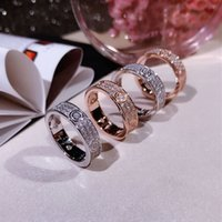 Wholesale wide band diamond wedding ring resale online - Kajia wide and narrow version of Gypsophila ladies engagement wedding ring full diamond high end high carbon diamond micro inlaid ring