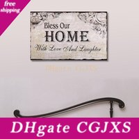 Wholesale wood signs home decor for sale - Group buy Decorative Wood Wall Hanging Sign Plaque Bless Our Home With Love And Laughter Grey Black Color Home Decor