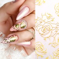 Wholesale salon decals resale online - Gold D Nail Art Stickers Hollow Decals Mixed Designs Adhesive Flower Metallic Nail Tips Decorations Salon Accessories Sheet